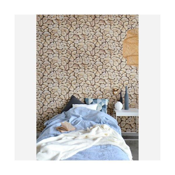 rasch 2020 輸入壁紙 130359 ブラウン 茶色 木目 丸太 薪 フェイク クロス 10m巻 DIY はがせる ドイツ製  国内在庫品|decoall|03