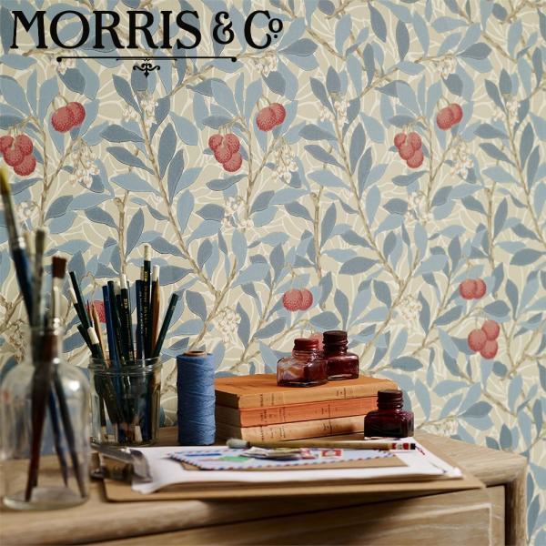 ウィリアムモリス 壁紙 アービュータス(Arbutus)MORRIS  ブルー グリーン 輸入壁紙 イギリス製 シノワズリ 草、木、果物柄   decoall
