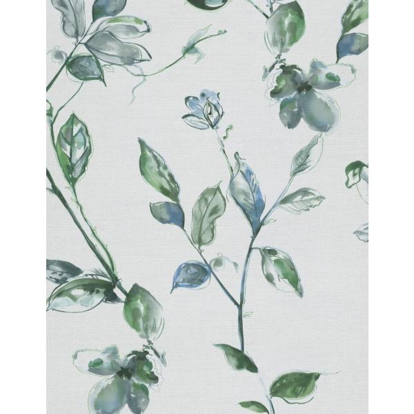 輸入壁紙  ESPOIR NEW AGE  国内在庫 219452 花 葉 墨絵 水彩画 白 緑 モダン CASAMANCE テシード DIY  decoall