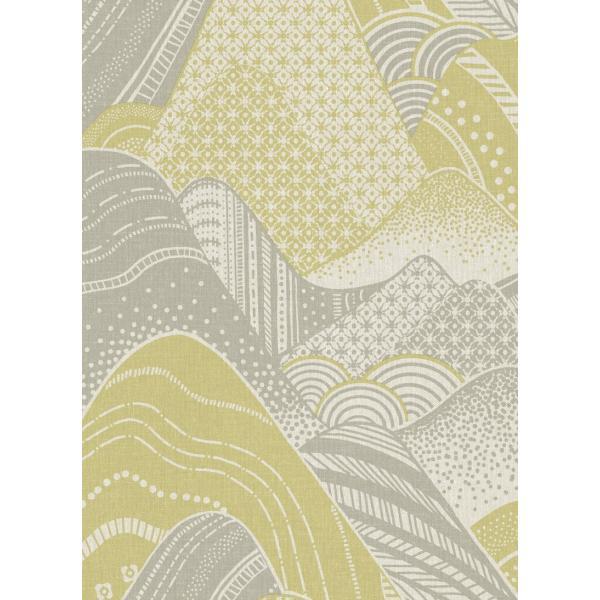 輸入壁紙  ESPOIR NEW AGE  国内在庫 2764-24334 イエローグリーン 波模様 和柄 和モダン ふすま BREWSTER テシード DIY |decoall