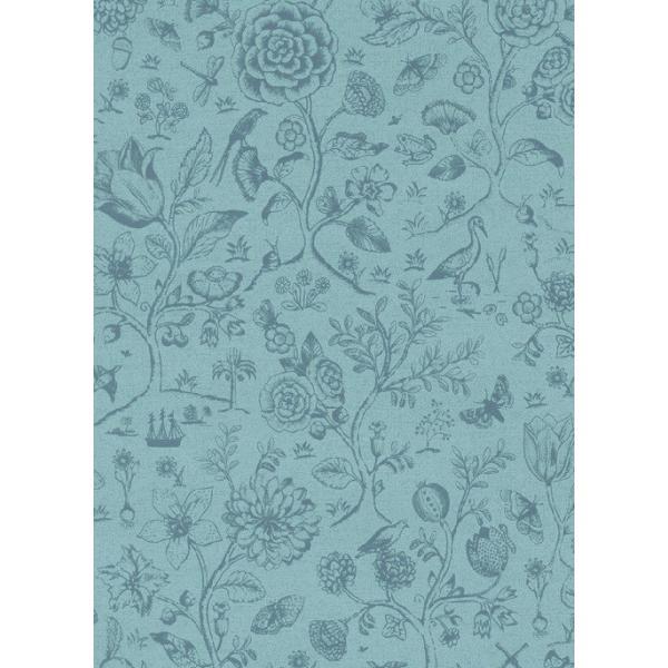 PIPSTUDIO4  375012 輸入壁紙 花 鳥 動物 昆虫 ブルー 青  DIY 貼ってはがせる オランダ製 10m巻|decoall