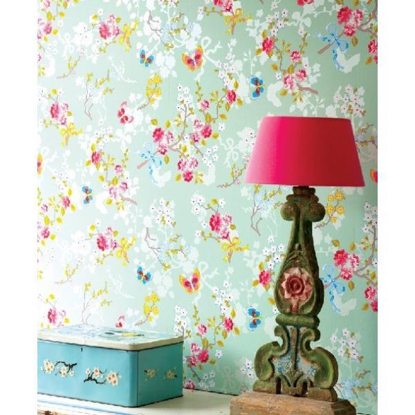 PIPSTUDIO4  375073 輸入壁紙 花 リボン 蝶  グリーン  DIY 貼ってはがせる オランダ製 10m巻|decoall