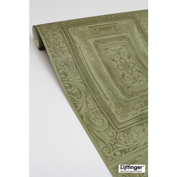輸入壁紙  FUSION 382521  テシード タイル フェイク モスグリーン バロック調  国内在庫品 クロス はがせる 10m巻 壁紙 |decoall|02