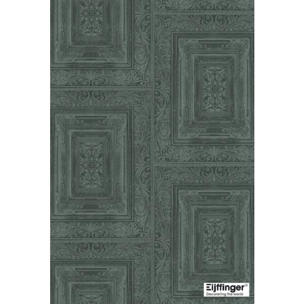 輸入壁紙  FUSION 382523  テシード タイル フェイク ダークグリーン バロック調  国内在庫品 クロス はがせる 10m巻 壁紙 |decoall|02