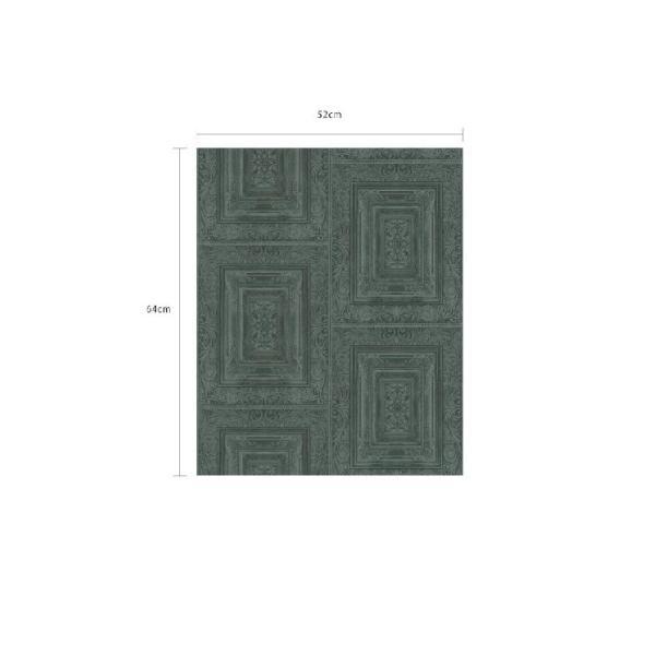 輸入壁紙  FUSION 382523  テシード タイル フェイク ダークグリーン バロック調  国内在庫品 クロス はがせる 10m巻 壁紙 |decoall|04