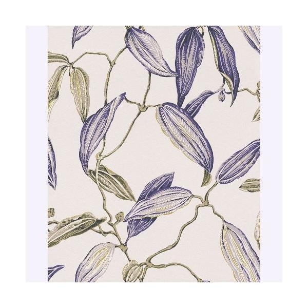 rasch 2020 輸入壁紙 525731 ホワイト パープル 白 紫 花 植物 クロス 10m巻 DIY はがせる ドイツ製  国内在庫品|decoall