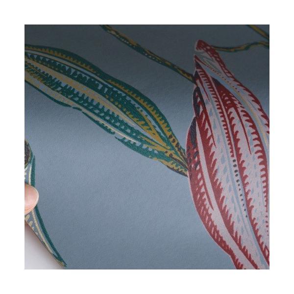 rasch 2020 輸入壁紙 525748 ブルーグレー レッド 赤 花 植物 クロス 10m巻 DIY はがせる ドイツ製  国内在庫品|decoall|02