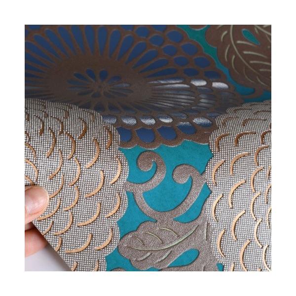 rasch 2020 輸入壁紙 759082 ターコイズブルー 青 ゴールド 金 花柄 和風 和柄 ふすま クロス 10m巻 DIY はがせる ドイツ製  国内在庫品|decoall|02