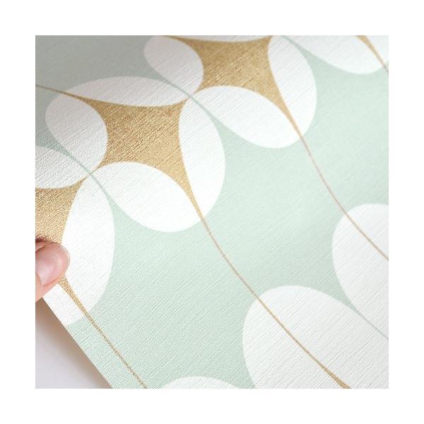はじめてセット rasch 2020 輸入壁紙 531121 ミントグリーン ホワイト白 ゴールド 金 幾何学 北欧 クロス 10m巻 DIY はがせる ドイツ製 国内在庫品|decoall|03