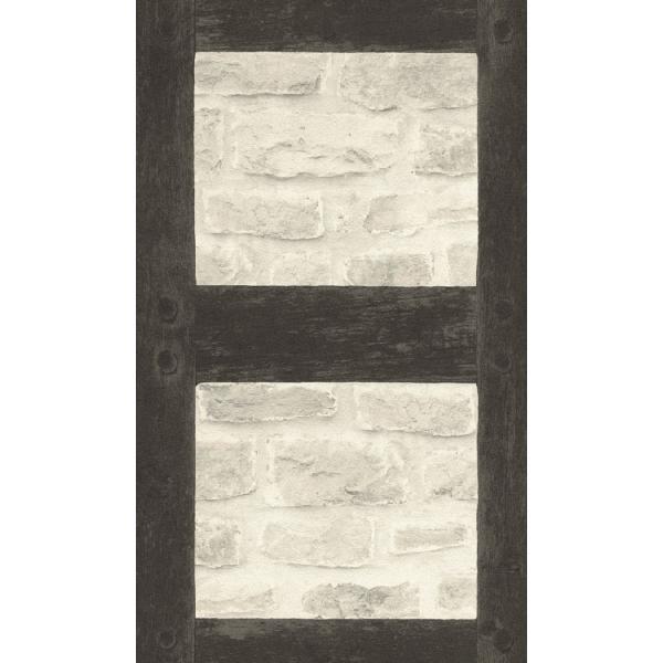 はじめての道具付き輸入壁紙  rasch2019 レンガ 外壁 フェイク 白 格子 860504 クロス 10m DIY はがせる|decoall