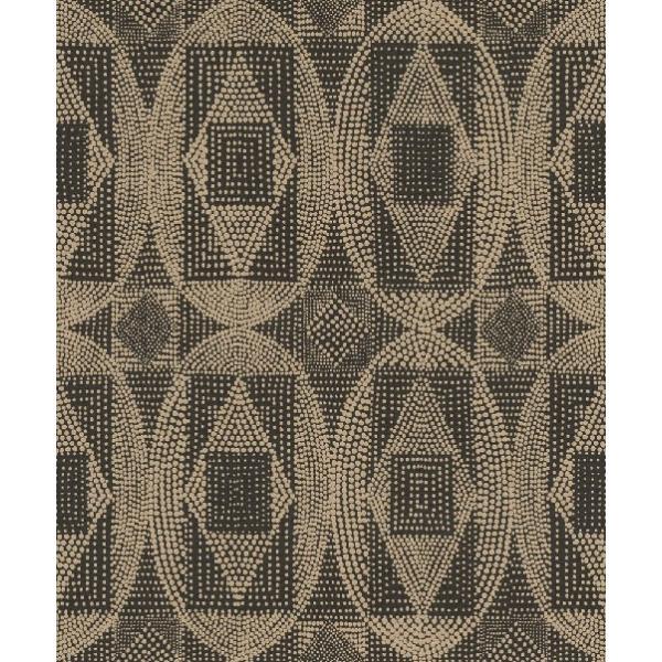 はじめての輸入壁紙DIYセット ドイツrasch(ラッシュ) 幾何学 茶 ブラウン アボリジニ カルチュラル 861839 クロス DIY rasch2019 はがせる|decoall