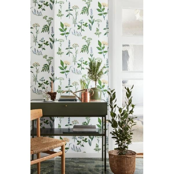 輸入壁紙 SBT-1789 グリーン イエロー ホワイト 草花 LISBETJOBS KOKS-VAXTER スウェーデン クロス 10m|decoall