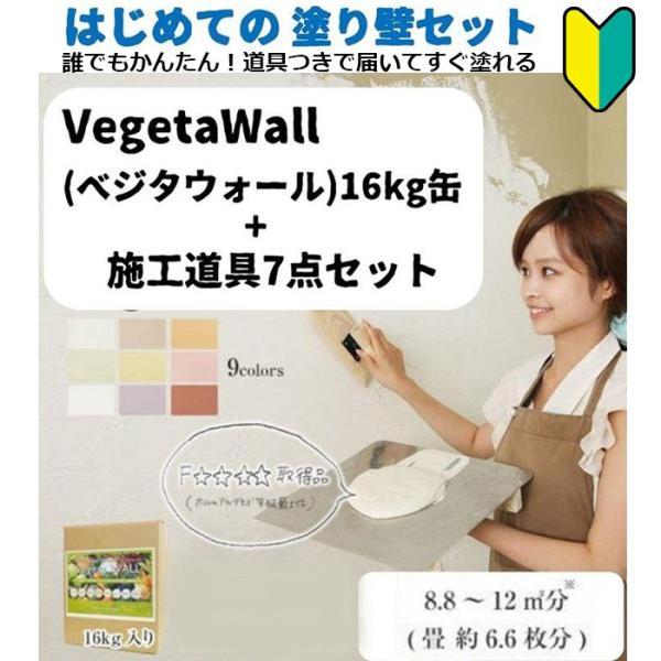 はじめての塗り壁セット 施工道具+練り済み漆喰 Vegeta WALL ベジタウォール 16kg入り DIY しっくい じぶんで塗れる |decoall