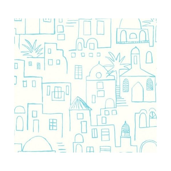 PICTUREBOOK W569-01 ブルー 水色 建物 風景 キッズ 子供部屋 絵本 輸入壁紙 クロス 貼って剥がせる 10m|decoall