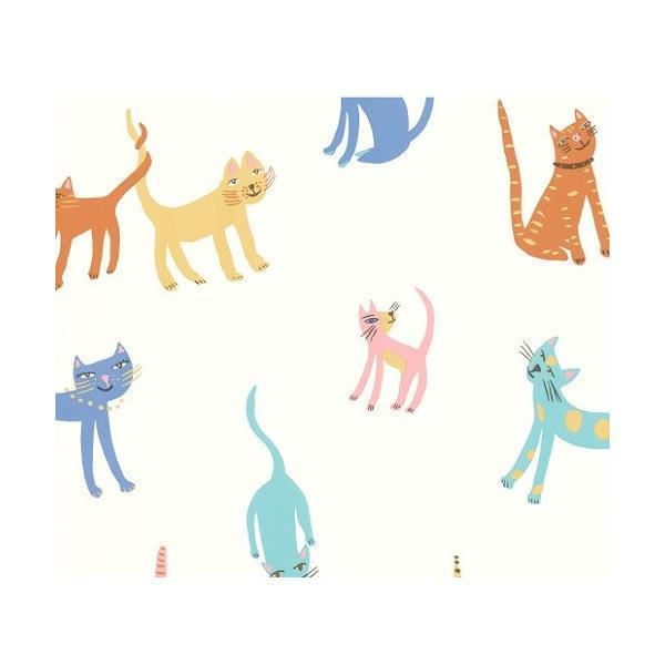 PICTUREBOOK W580-01 マルチカラー キャット 猫 キッズ 子供部屋 絵本 輸入壁紙 クロス 貼って剥がせる 10m decoall
