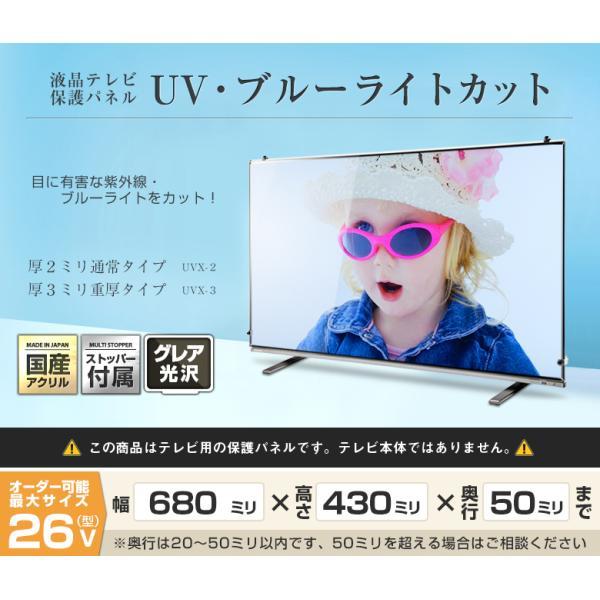 液晶テレビ保護パネル26型(26インチ)UV・ブルーライトカット【厚2ミリ通常(光沢グレア仕様)】24・26型対応【テレビ保護カバー・4K・8K・有機EL対応】 decodecoshop 02