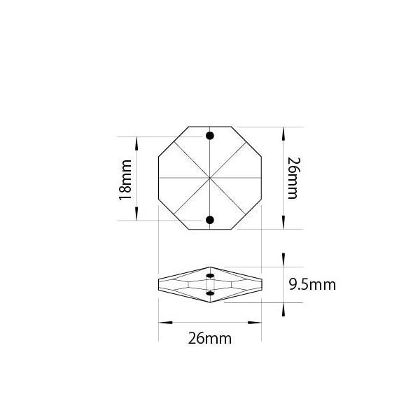 アクリルシャンデリアパーツ/クリスタルビーズオクタゴン26mmクリア|decoline|02
