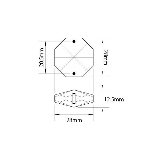 アクリルシャンデリアパーツ/クリスタルビーズオクタゴン28mmクリア decoline 02