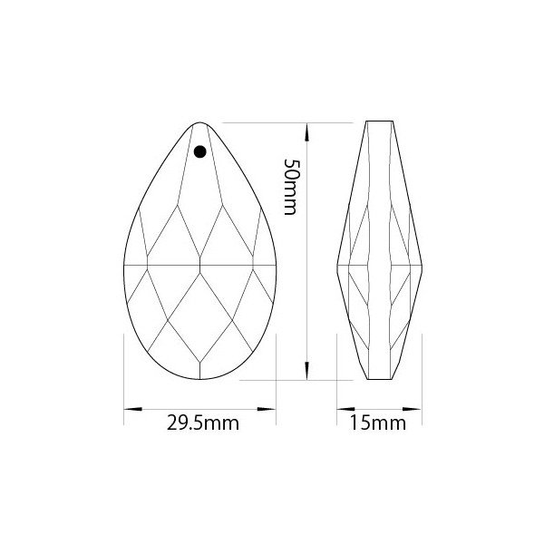 ドロップ型シャンデリアパーツ ダイヤカットガラス50mm クリア decoline 03