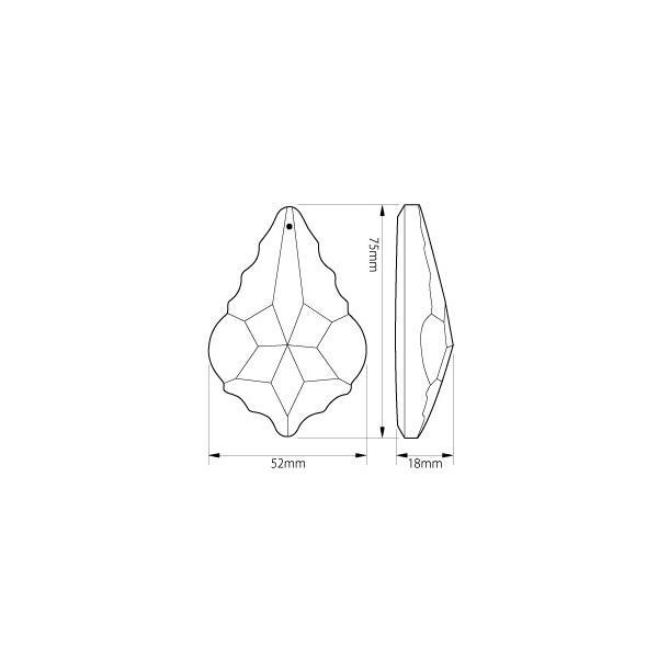 リーフ ヒイラギ型シャンデリアパーツ カットガラス75mm クリア|decoline|04