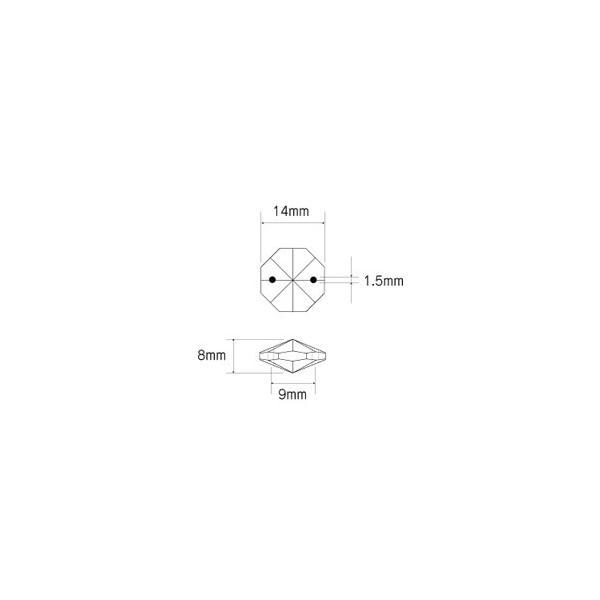オクタゴン型シャンデリアパーツ カットガラス14mm クリア|decoline|03