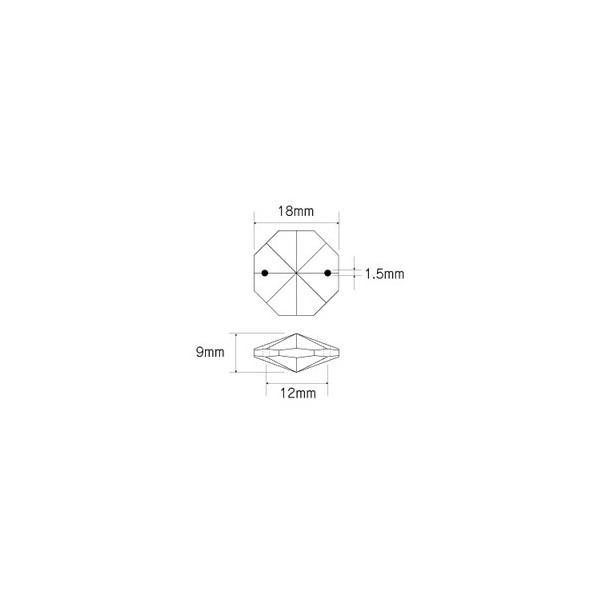 オクタゴン型シャンデリアパーツ カットガラス18mm クリア|decoline|03
