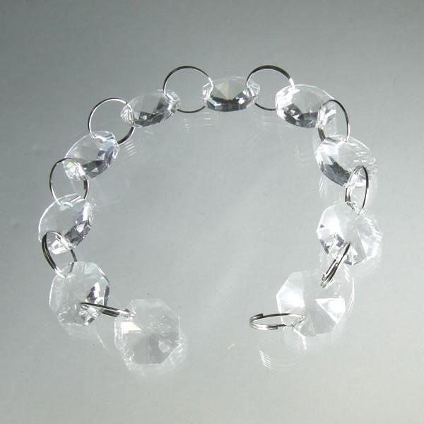 クリスタルガーランド/ガラス製デコチェーン14mmオクタゴン 10個連結(接続かんたん!)|decoline
