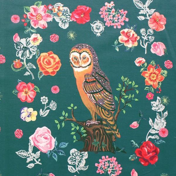 生地・布 ≪ Greeny owl ≫ オックス/幅148cm/パネル生地 ナタリーレテ/Nathalie Lete 【リピート単位販売】【5点までメール便対応】