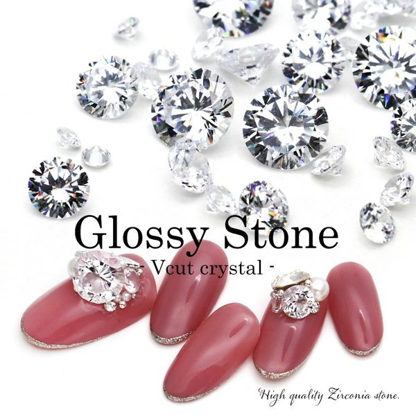 [ネコポス 送料無料]ラインストーン ジルコニア製 グロッシーストーン(Grossy stone) Vカット/ラウンド クリスタル 約3mm〜8mm おうち時間 おうちネイル