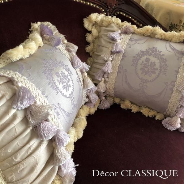 エレガントピロークッション:ブドワールピロー:フレンチラベンダー・フリンジ付き長方形 Decor CLASSIQUE|decor-classique|05