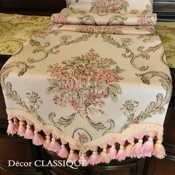 テーブルランナー:テーブルセンター 長さ200cm/230cm:エレガントローズシリーズ ピンク Decor CLASSIQUE decor-classique 02