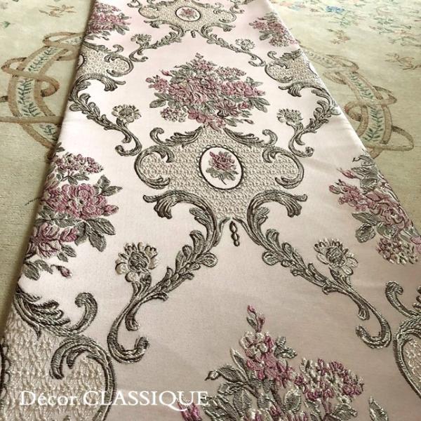 テーブルランナー:テーブルセンター 長さ200cm/230cm:エレガントローズシリーズ ピンク Decor CLASSIQUE decor-classique 04