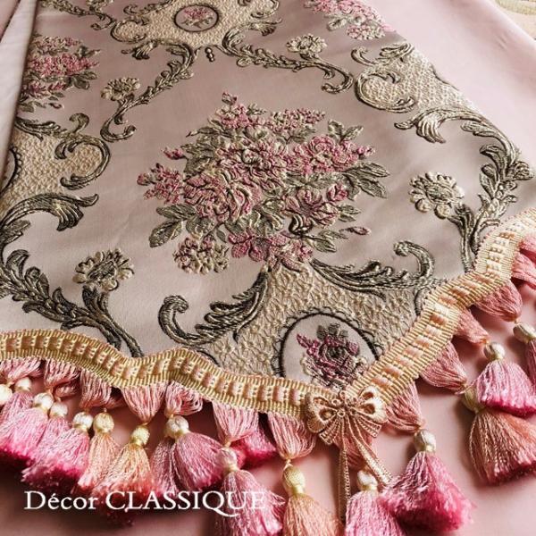 テーブルランナー:テーブルセンター 長さ200cm/230cm:エレガントローズシリーズ ピンク Decor CLASSIQUE decor-classique 06