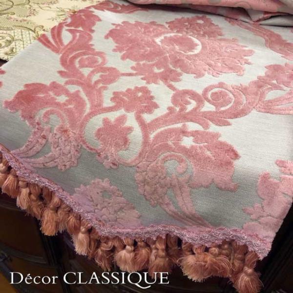 テーブルランナー 長さ200cm/230cm/260cm:アレッサンドラ ピンクベルベットダマスク Decor CLASSIQUE|decor-classique|04
