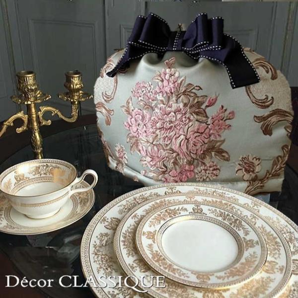 ティーコゼー・ティーコージー・ティーポットカバー:エレガントローズシリーズ:ブルーローズ リボン付き 立体縫製:Decor CLASSIQUE decor-classique