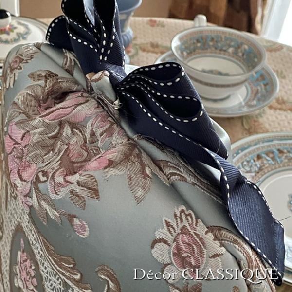 ティーコゼー・ティーコージー・ティーポットカバー:エレガントローズシリーズ:ブルーローズ リボン付き 立体縫製:Decor CLASSIQUE decor-classique 04