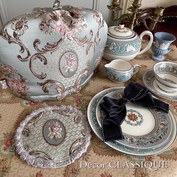 ティーコゼー・ティーコージー・ティーポットカバー:エレガントローズシリーズ:ブルーローズ リボン付き 立体縫製:Decor CLASSIQUE decor-classique 06