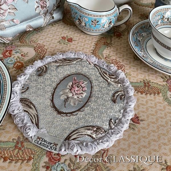 ティーコゼー・ティーコージー・ティーポットカバー:エレガントローズシリーズ:ブルーローズ リボン付き 立体縫製:Decor CLASSIQUE decor-classique 07