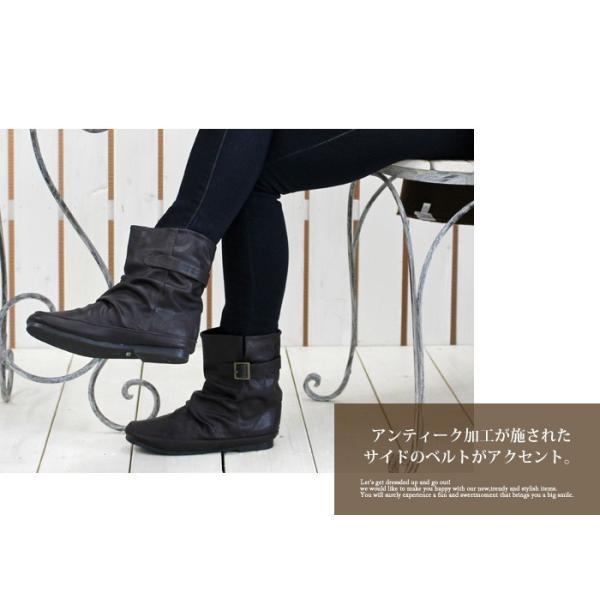 送料無料 ブーツ ショートブーツ レディース ヒール 黒 低反発 ローヒール フラット 痛くない シンプル / 74-63ys478|decorate|03