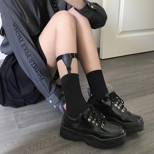 あり 2点セットガーターベルト付きクルーソックス靴下ゴムベルトダンス衣装韓国ヒップホップレディース