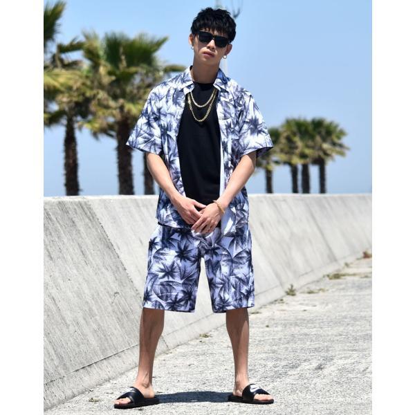 ff59057832fcc8 ... セットアップ メンズ 夏 半袖アロハシャツ×ハーフパンツ 上下セット ボタニカル柄 大きいサイズ サーフ ...