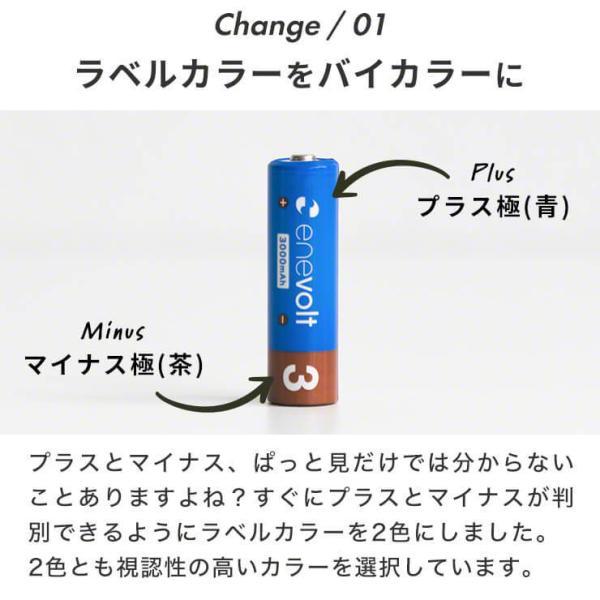 \おまけ付/充電池 単3 エネボルト ニッケル水素充電池 エネループを超える 3000mAh 単3タイプ8本セット カラフル 単3電池|dejiking|05