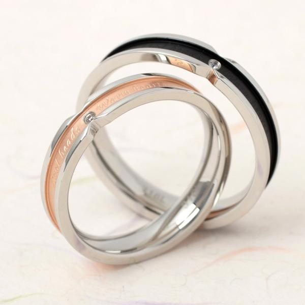 ペアリング 2本セット ステンレス 指輪 メンズ レディース ピンクゴールド ガンメタル シルバー キュービックジルコニア|delacruz|02