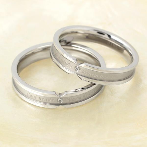 ペアリング 2本セット ステンレス 指輪 メンズ レディース ピンクゴールド ガンメタル シルバー キュービックジルコニア|delacruz|03