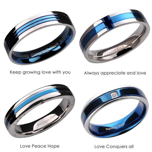 指輪 メンズ レディース ステンレス ペアリングに ブルー 選べる4種類|delacruz|02