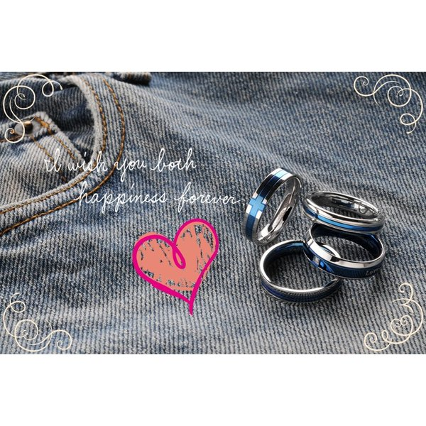 指輪 メンズ レディース ステンレス ペアリングに ブルー 選べる4種類|delacruz|03