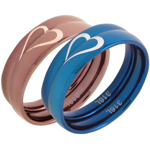 ペアリング 2本セット ステンレス シンプル 指輪 ハート|delacruz