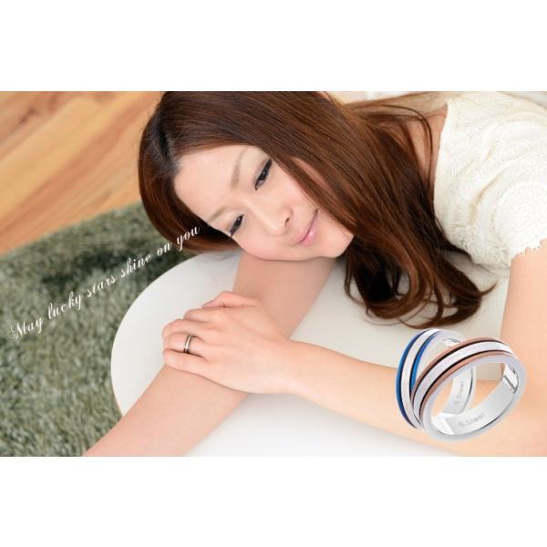 ペアリング 2本セット ステンレス 指輪 メンズ レディース ブルー コーヒーブラウン|delacruz|03