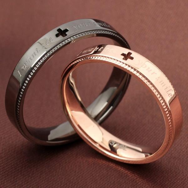 ペアリング 2本セット ステンレス 指輪 メンズ レディース ピンクゴールド ガンメタル クロスの透かしデザイン|delacruz