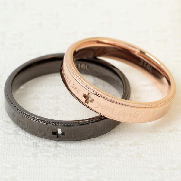 ペアリング 2本セット ステンレス 指輪 メンズ レディース ピンクゴールド ガンメタル クロスの透かしデザイン|delacruz|02